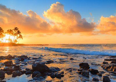 Poipu Kauai Sunset over the ocean