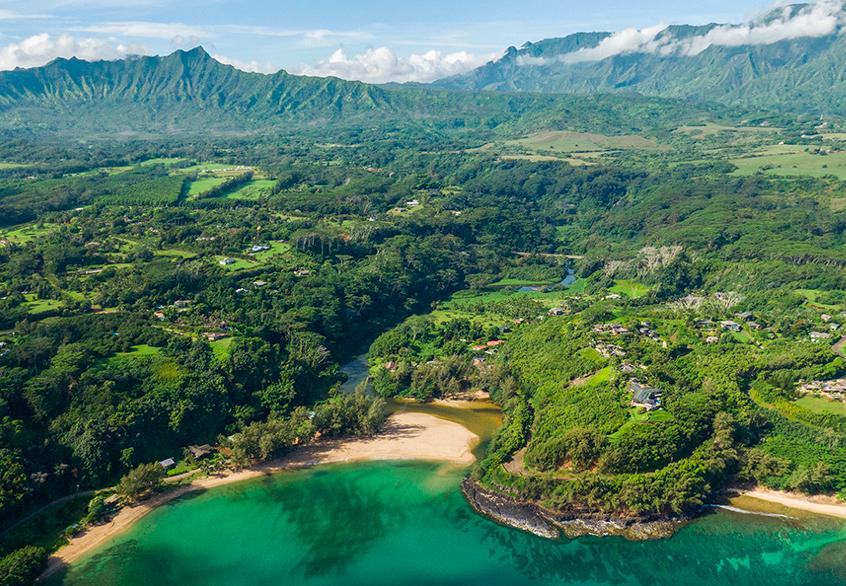 Kalihiwai Beach House vacation rental aerial view