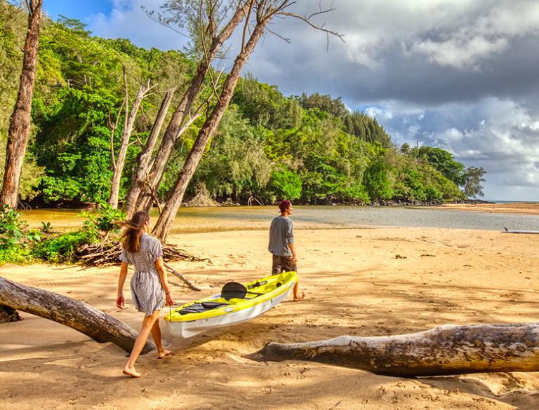 Kalihiwai Beach House rental, kayak