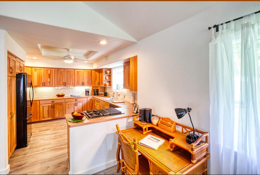 Kalihiwai Beach House rental kitchen