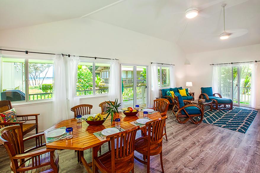 Kalihiwai Beach House rental dining area
