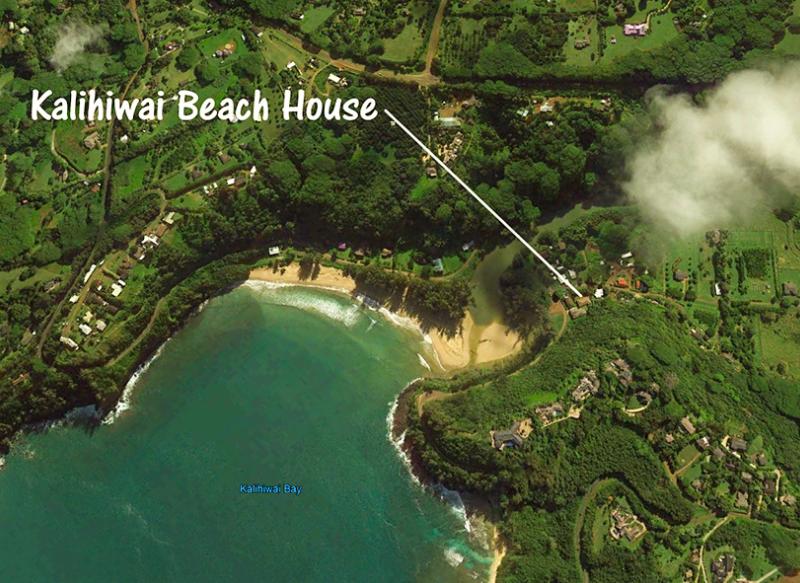 Kalihiwai Beach House rental aerial view