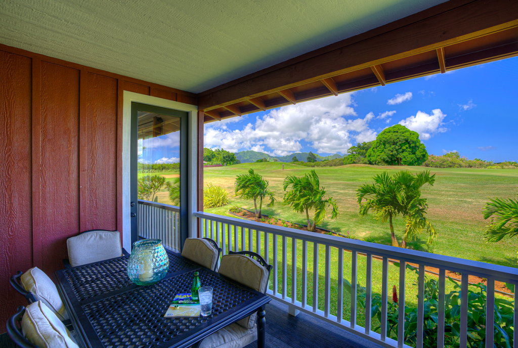 Kolepa Kai Poipu Rental covered patio with view